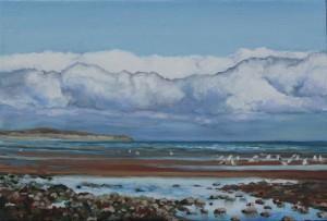 'Distant Rain' Oil on Canvas 30.25 x 20.25cm